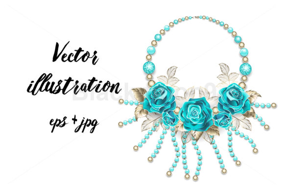 Necklace with Turquoise Roses Graphic Illustrations By Blackmoon9