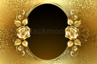 Oval Banner with Golden Roses Graphic Illustrations By Blackmoon9