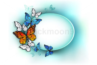 Oval Banner with Summer Butterflies Graphic Illustrations By Blackmoon9