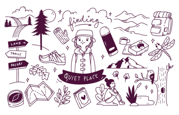 Set of Adventure Doodle Vector Graphic Illustrations By Big Barn Doodles