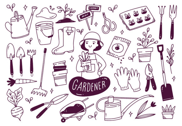 Set of Gardener Tools in Doodle Style Graphic Illustrations By Big Barn Doodles