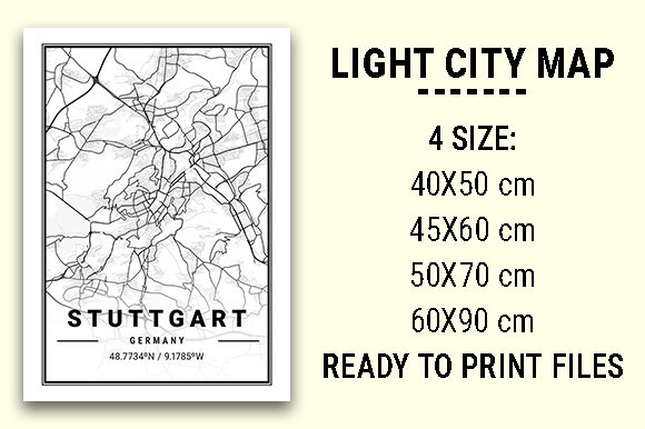 Print on Demand: Stuttgart Light City Map Graphic Photos By tienstencil