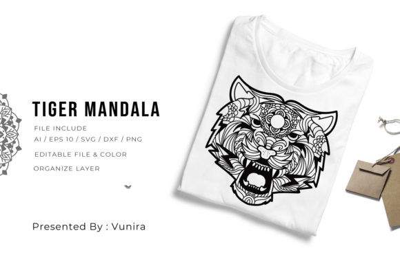 Print on Demand: Tiger | Mandala Graphic Crafts By Vunira