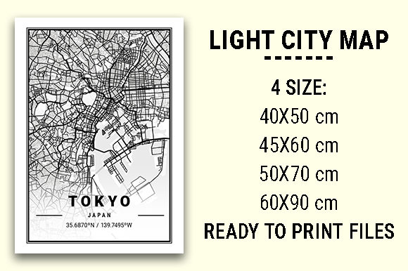 Print on Demand: Tokyo Light City Map Graphic Photos By tienstencil