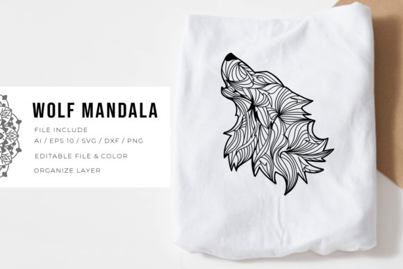 Print on Demand: Wolf | Mandala Graphic Crafts By Vunira