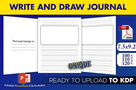 Print on Demand: Write and Draw Kids Journal KDP Interior Graphic KDP Interiors By Beast Designer