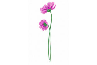 Print on Demand: Pink Cosmos Flowers Bouquets & Bunches Embroidery Design By EmbArt