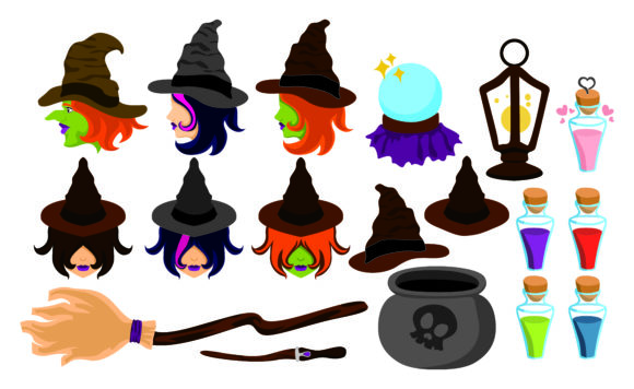 Print on Demand: Set of Halloween Magic Tools and Witches Graphic Crafts By Arief Sapta Adjie