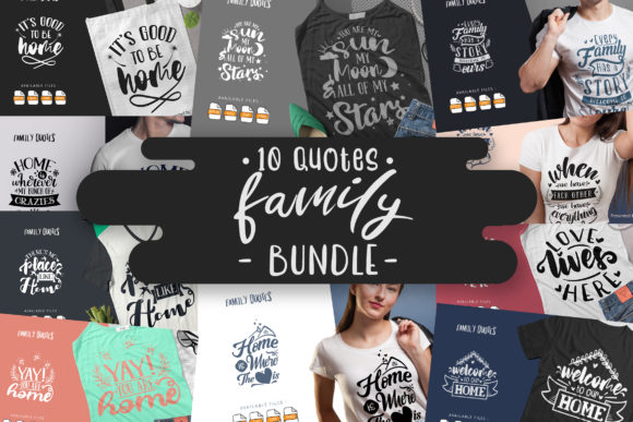 Print on Demand: 10 Family Bundle |  Lettering Quotes Graphic Crafts By Vunira
