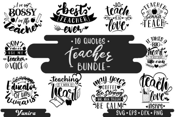 Print on Demand: 10 Teacher Bundle | Lettering Quotes Gráfico Crafts Por Vunira