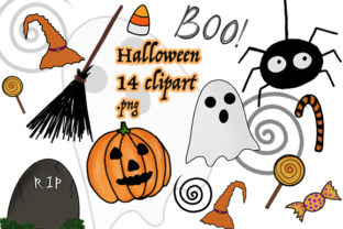 14 Halloween Clipart Png Files Graphic By Luckycharmz Designs Creative Fabrica