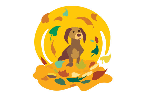 Dog in Pile of Leaves Fall Craft Cut File By Creative Fabrica Crafts
