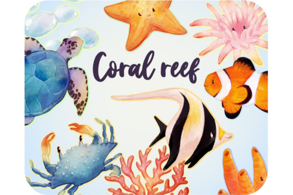 20 Coral Reef Clipart Set Under the Sea Graphic Icons By Alphabelli