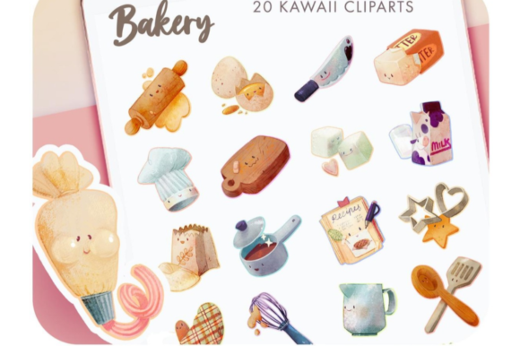 20 Digital Stickers Food Cliparts Graphic Icons By Alphabelli