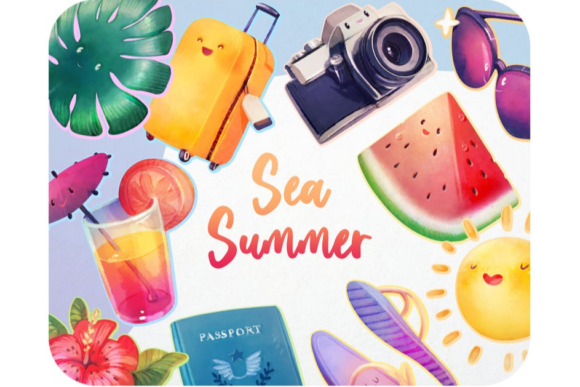 20 Watercolor Summer Clipart Set Graphic Icons By Alphabelli