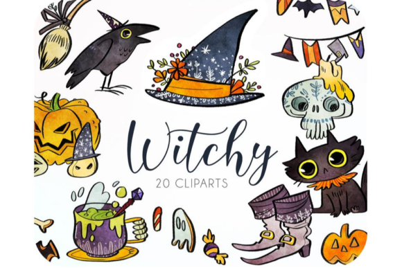 20 Witch Clipart Set • Halloween Graphic Graphic Icons By Alphabelli
