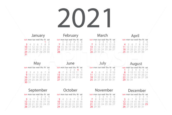 2021 Monthly Classical Calendar Template Graphic Illustrations By Kapitosh
