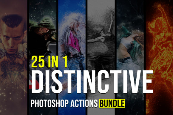 25 in 1 Distinctive Photoshop Actions Graphic Actions & Presets By Creative Creator