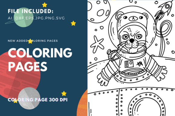 Print on Demand: Astronauts Cat Coloring Book Page Graphic Coloring Pages & Books Kids By stanosh
