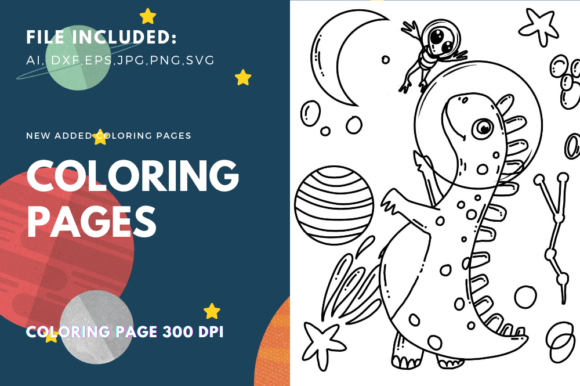 Print on Demand: Astronauts Dinosaurs Coloring Book Graphic Coloring Pages & Books Kids By stanosh