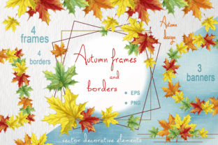 Autumn Frames and Borders. Vector Design Graphic Illustrations By Maycat