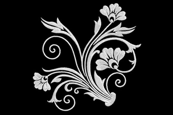 Print on Demand: Baroque Floral Shapes Embroidery Design By Embroidery Shelter