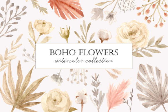 Boho Flowers. Watercolor Collection Graphic Illustrations By Slastick