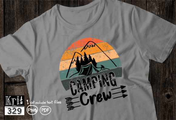 Camping Crew Vintage Sunset Graphic Print Templates By Krit-Studio329