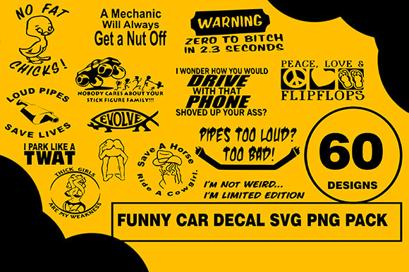 Print on Demand: Car Funny Designs Bundle Graphic Illustrations By CactusTreeDesigns