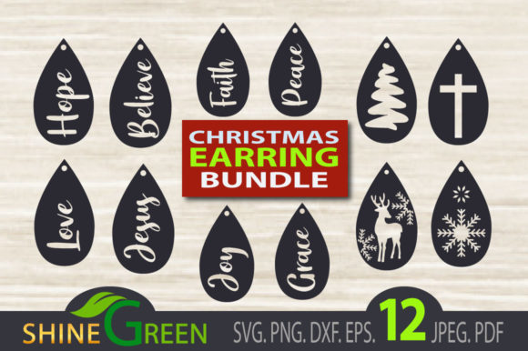 Print on Demand: Christmas Earrings Bundle Templates Graphic Crafts By ShineGreenArt