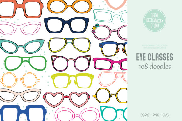 Color Glasses Eye Wear Frames Sunglasses Graphic Illustrations By Digital_Draw_Studio