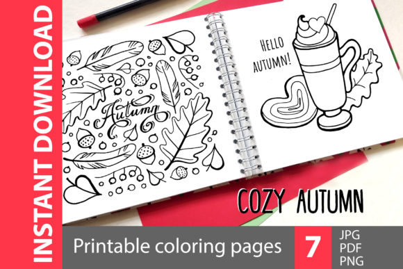 Cozy Autumn - 7 Coloring Pages Graphic