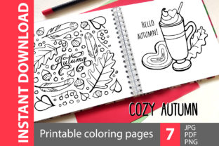 Cozy Autumn - 7 Coloring Pages Graphic Coloring Pages & Books By NataliMyaStore