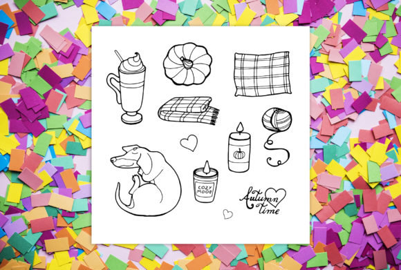 Cozy Autumn - 7 Coloring Pages Graphic Preview