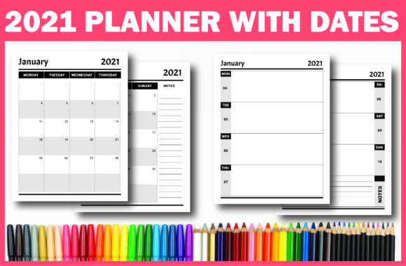 Print on Demand: Dated Monthly Weekly Planner 2021 (KDP) Graphic KDP Interiors By Fayne