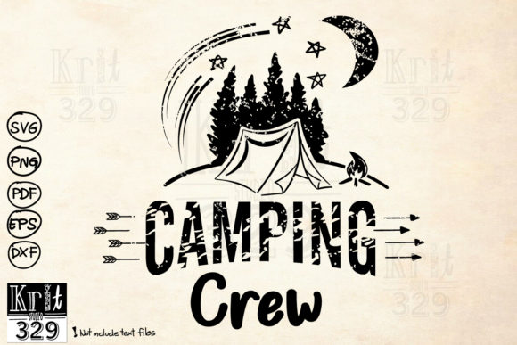 Distressed Night Camping Crew Graphic Crafts By Krit-Studio329