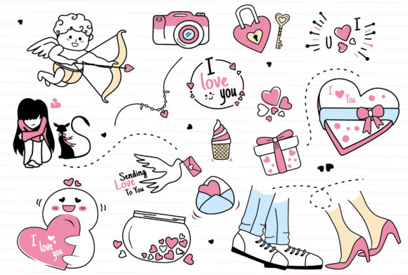 Doodle Valentine Clipart Collection Set Graphic Illustrations By ABs