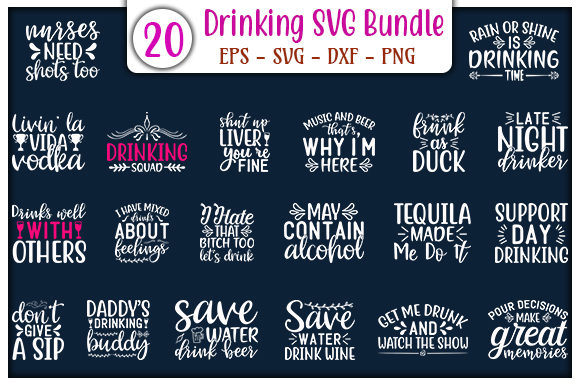 Print on Demand: Drinking Quotes Design Bundle Graphic Print Templates By GraphicsBooth