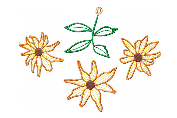 Print on Demand: Fire Daisies Bouquets & Bunches Embroidery Design By EmbArt