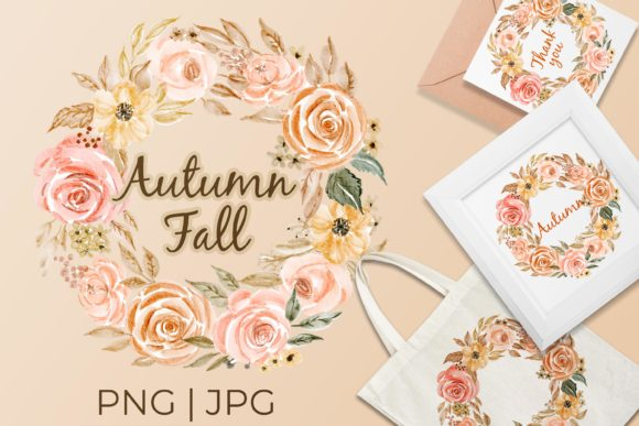 Print on Demand: Floral Wreath Autumn Falls Graphic Illustrations By OrchidArt