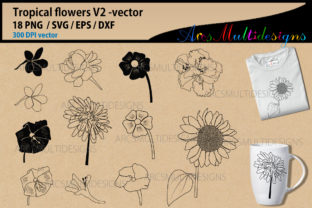 Print on Demand: Flower Silhouettes Graphic Illustrations By Arcs Multidesigns