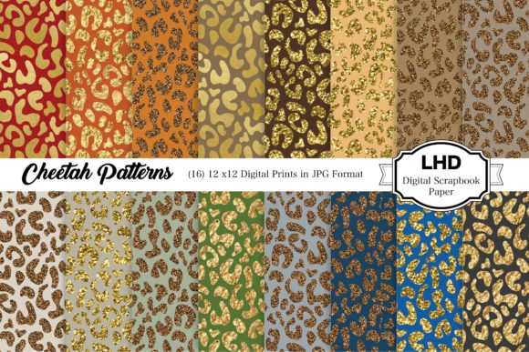 Gold & Glitter Cheetah Digital Paper Graphic Patterns By LeskaHamatyDesign