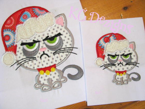 Grumpy Christmas Cat Christmas Embroidery Design By karen50 - Image 1