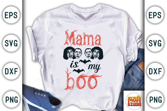 Print on Demand: Halloween Quote Design, Mama is My Boo Graphic Print Templates By CraftStudio