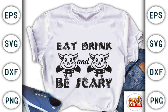 Print on Demand: Halloween Quote Design, Eat Drink and Be Scary Graphic Print Templates By CraftStudio