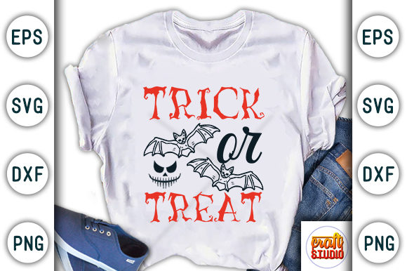 Print on Demand: Halloween Quote Design, Trick or Treat Graphic Print Templates By CraftStudio