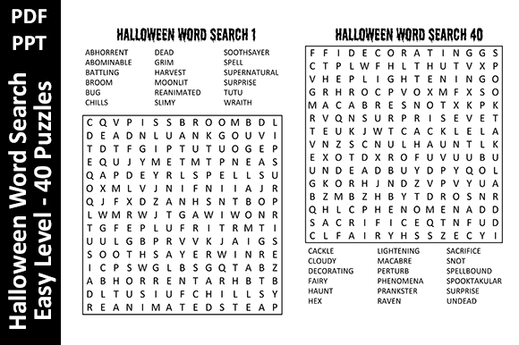 Halloween Word Search Easy Level Unique Graphic