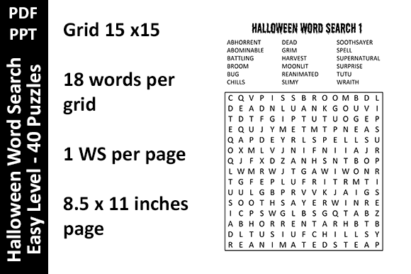 Halloween Word Search Easy Level Unique Graphic Download