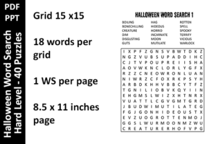 Halloween Word Search Hard Level Unique Graphic KDP Interiors By Oxyp