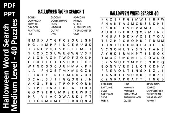 Halloween WordSearch Medium Level Unique Graphic KDP Interiors By Oxyp